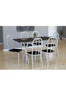 Conjunto De Mesa Miame Com 6 Cadeiras Madri Branco E Preto Liso