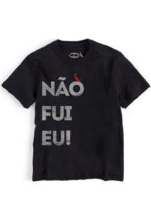 Camiseta Não Fui Eu Reserva Mini Infantil Masculino - Masculino-Preto