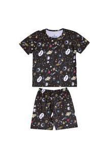 Pijama Infantil Abrange Espaço Preto Abrange Casual Preto