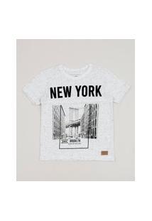 Camiseta Infantil New York Manga Curta Off White