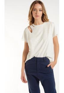 Camiseta Rosa Chá Jasmin Iii Malha Branco Feminina (Branco, Pp)