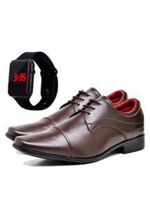 Sapato Social Urbano Com Relógio Led Masculino Dubuy 832Db Marrom