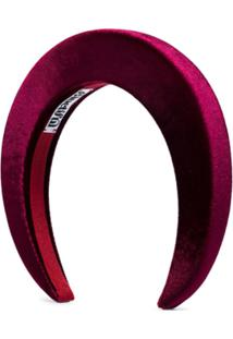 Bluetiful Milano Headband De Veludo Bordô - Vermelho