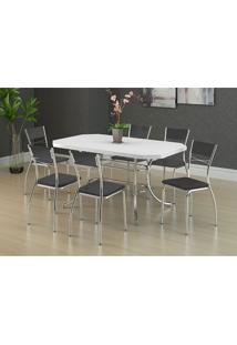 Conjunto Mesa 1507 Branca Cromada Com 6 Cadeiras 1701 Preta Carraro