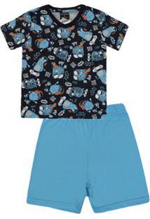Pijama Infantil Camiseta E Bermuda Monstrinhos Quimby Masculino - Masculino-Azul