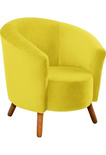Poltrona D'Rossi Decorativa Angel Suede Amarelo Com Pés Palito - D'Rossi