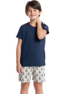Pijama Infantil Masculino Curto Estampado Âncora