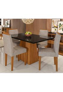 Conjunto De Mesa De Jantar Bárbara Com 4 Cadeiras Estofada Amanda Veludo Preto Bege