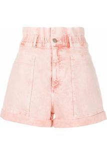 Stella Mccartney Short Jeans Cintura Alta Com Destroyed - Rosa