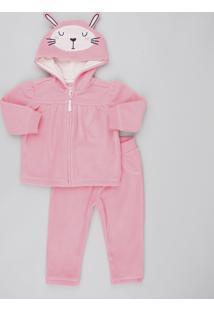 Conjunto Infantil Coelho De Jaqueta Com Capuz + Calça Em Fleece Rosa