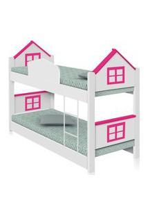 Beliche Infantil Casa Adesivada Rosa Com Colchões Casah