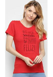 Camiseta Coca Cola Estampada Manga Curta Feminina - Feminino-Vermelho Escuro