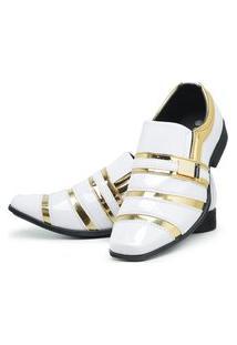 Sapato Social Masculino Verniz Brilhoso Branco/Dourado