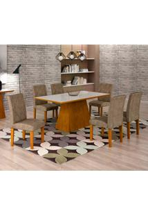Conjunto De Mesa De Jantar Luna Com Vidro E 6 Cadeiras Ane Suede Animalle Imbuia E Branco