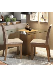 Conjunto Sala De Jantar Madesa Rosi Mesa Tampo De Vidro Com 2 Cadeiras Marrom - Marrom - Dafiti