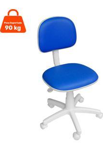 Cadeira De Escritório Secretária Giratória Direction Branca E Azul