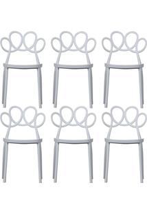 Kit 06 Cadeiras Decorativas Para Cozinha Laço Branco - Gran Belo