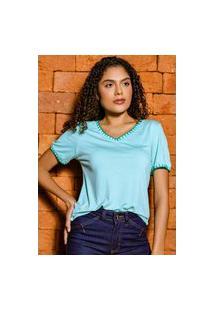 T-Shirt Decote V Bordado Acabamento Em Crochê Banila B