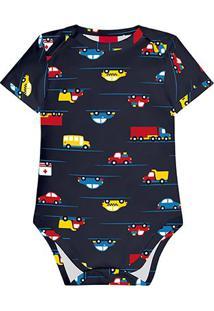 Body Bebê Kyly Cotton Estampado Masculino - Masculino-Azul Escuro