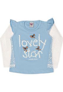 Camiseta Manga Longa Pimentinha Kids Lovely Azul