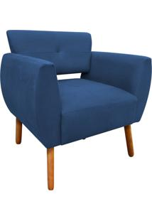 Poltrona Decorativa Josy Linho Azul Marinho A77 Pés Palito - D'Rossi