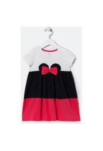 Vestido Infantil Com Orelhas Da Minnie E Glitter - Tam 1 A 6 Anos | Minnie Mouse | Branco | 02