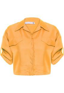 Camisa Feminina Cropped Com Bolsos Seda - Amarelo