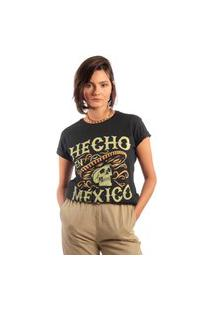 Camiseta Feminina Mirat Hecho En Mexico Preto