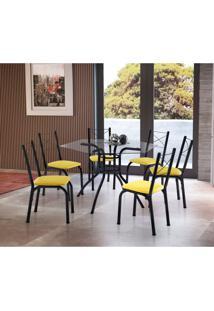 Conjunto De Mesa De Cozinha Com 6 Cadeiras Vick Couro Sintético Amarelo