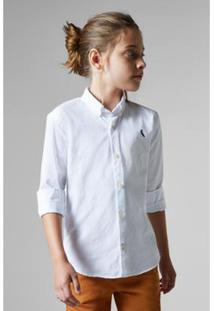 Camisa Masculina Infantil Mini Cont Oxford Reserva Mini - Masculino-Branco