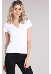 CEA. Blusa Feminina Polo Básica Manga Curta Branca c4d44b31c0d7b