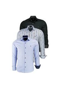 Kit 3 Camisas Casual/Social Amil Slim Algodão 1567 Preto / 1658 Cor 04 / 1660 Azul Bebê