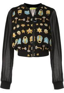 Versace Jeans Couture Jaqueta Bomber Estampada Com Logos - Preto