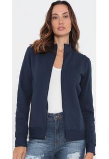 Jaqueta Lisa Em Moletom Com Bolsos- Azul Marinho- Mamalwee