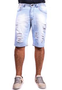 Bermuda Jeans Destroyed Clara Rasgada Mania Do Jeans