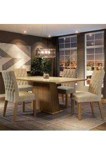 Conjunto Sala De Jantar Madesa Grazi Mesa Tampo De Vidro Com 4 Cadeiras Marrom - Marrom - Dafiti
