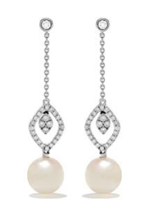 Yoko London Par De Brincos Trend De Ouro 18K Com Diamante E Perola - 7