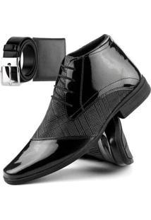 Bota Social Dhl Calçados Com Cadarço Masculina + Cinto E Carteira - Masculino-Preto