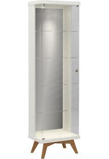Cristaleira Retrô Espelhada C/ 1 Porta Vidro E Led Off-White Dalla Costa