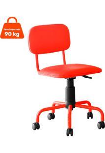 Cadeira De Escritório Secretária Giratória Color Pistão A Gás Corano Vermelho