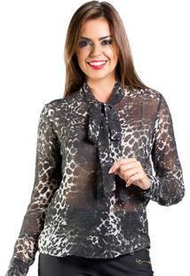 Camisa Gravata Animal Print Nathalia Valencia