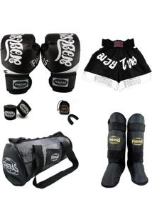 Kit Muay Thai Top Luva Bandagem Bucal Bolsa Caneleira Shorts 08 Oz Tailândes - Masculino
