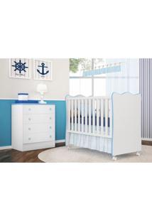 Jogo Quarto Infantil Cômoda E Berço Simples Doce Sonho Branco/Azul - Qmovi