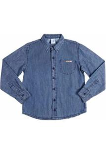 Camisa Jeans Manga Longa Infantil Azule Masculina - Masculino-Azul