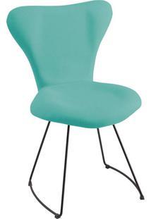 Cadeira Jacobsen Meia Lua Linho Azul Turquesa