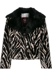 Srvz Club Jaqueta Oversized Animal Print - Marrom