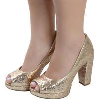 8c20ddd5c Peep Toe Dourado Glitter feminino   Shoes4you