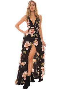Vestido Longo Floral Cintura De Amarrar