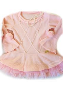 Vestido Tricot Yoyo Infantil Rosa Com Pérolas - Tricae