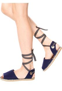 Rasteira Avarca Dafiti Shoes Gladiadora Azul Marinho